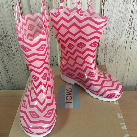 Toms Other - TOMS Pink Chevron Rainboot